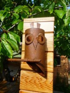 copper owl sculptures tea light holders tree house