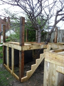 Tree house framework posts and steps
