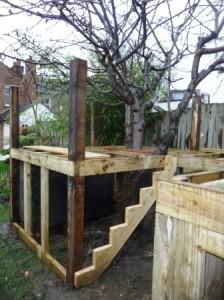 Tree house framework posts and steps