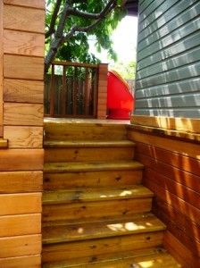 wooden steps tree house